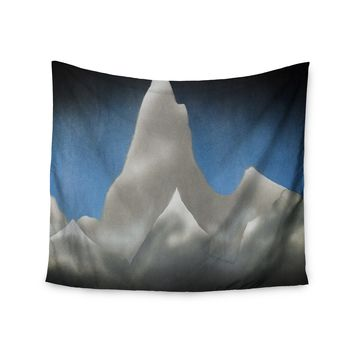 """Bruce Stanfield """"Snowy Mountains"""" Blue Teal Painting Wall Tapestry"""