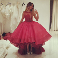 Red Short Front Long Back Prom Dress