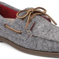 Sperry Top-Sider Authentic Original Wool 2-Eye Boat Shoe Grey/Red, Size 11.5M  Men's Shoes
