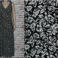 90s Maxi Midi Dress S Floral Rayon black White Tank Grunge Hipster Boho Festival Nu goth Gypsy Hippie sleevless Tent Smock