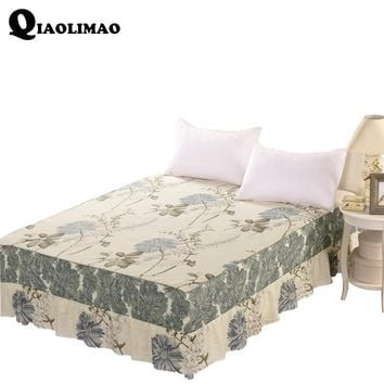 Cool Printed Cotton African Lace Fabric Luxury Pink Red Blue Flower Edge Wedding Decoration Bed Skirt For King Queen Size Bedding SetAT_93_12
