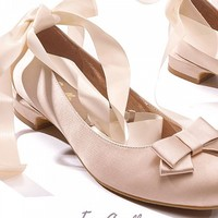 [$82.00]Pre-orderKite Maker My Angel Satin Lace Lallet Low-heel Shoes by Bao Zou