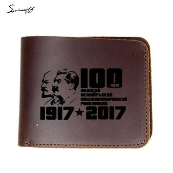 CCCP Genuine Leather Men Wallet Soviet Union 100th Anniversary Memorial Laser Engraved Lenin and Stalin portrait Wallet Purse
