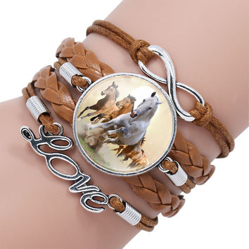 Antique Silver Infinity Alloy Cuff Charm Leather Bracelet Bangle With Horse For Women