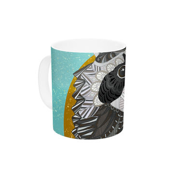 "Art Love Passion ""Racoon in Grass"" Gray Teal Ceramic Coffee Mug"