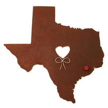 Texas State Map Metal Wall Art Sculpture - State Sculpture - State Silhouette - State Decor - Rustic - Rusty