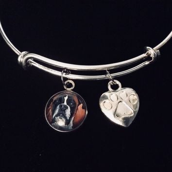 Mastiff Dog Jewelry Adjustable Bracelet Expandable Charm Bracelet Silver Bangle Paw Print Heart Dog Lover Gift Bull Mastiff Boxer Great Dane