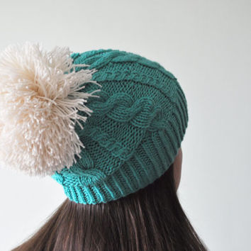 Emerald Knit Beanie Hat with huge Pom Pom, Slouchy Beanie Hat, Pom Pom Hat, Emerald Green