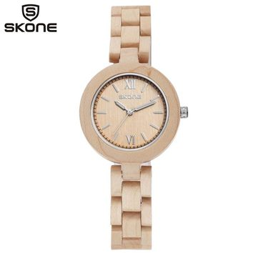 SKONE Wood Watch Women WristWatch Bracelet Watches Ladies Fashion Wooden Wristwatches for Lady very Small and Simple display