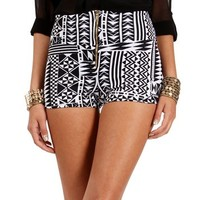 Ivory/Black High Waist Exposed Zipper Shorts