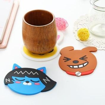 Cartoon Cocoa Friends Cup Mat Coaster Decorative Silicone patch Party Favors Kawaii Kids Girl Student Tools Party Gifts