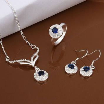 Ring Elegant Blue Zircon Round Pendant Necklace Ring Earring 925 Silver Plated Jewelry Set Nice Gift for Girls = 1958050372