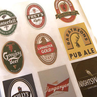 Game of Thrones Variety Pack Beer Labels of Nightswatch, Winterfell, Frey, Stannis, Greyjoy, Lannister, Baratheon, Tully, and Targaryen