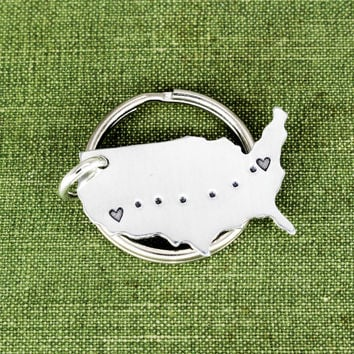 Long Distance Relationship Keychain - Friendship & Couples Gifts - Small Aluminum Key Chain
