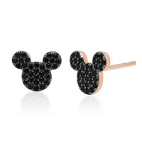 Mickey Mouse Black Pave Earrings by CRISLU - Rose Gold