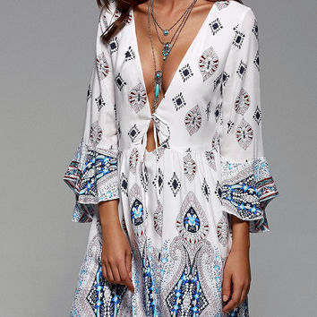 Tribal Print Flare Sleeve Plunging Neck Dress