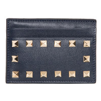 Valentino Rockstud Navy Leather Card Case | Overstock.com Shopping - The Best Deals on Designer Wallets