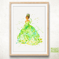 Tiana Princess and the Frog - Watercolor, Art Print, Home Wall decor, Watercolor Print, Disney Princess Poster