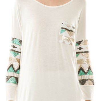 Aztec Sequin Sleeve & Pocket Top Ivory