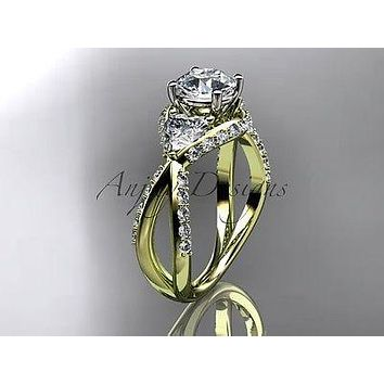 "Unique 14k yellow gold diamond engagement ring ""Forever One"" Moissanite ADLR318"