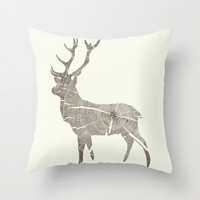 Wood Grain Stag Throw Pillow by Kyle Naylor