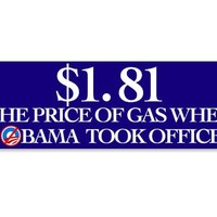 Nobama Price of Gas When Obama Took Office Bumper Sticker