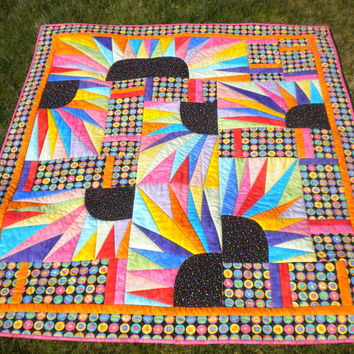 "Rainbow quilt, New York Beauty, Sunbursts, Quilted Wall Hanging or Baby Quilt 46"" x 51"""
