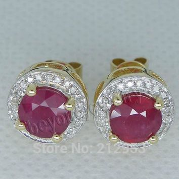 14KT Yellow Gold Vintage Round 6.5mm  Blood Red Ruby Earrings