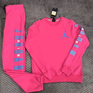 ONETOW Nike Air Jordan Woman Men Fashion Round Neck Top Sweater Pullover Pants Trousers Set Two-Piece