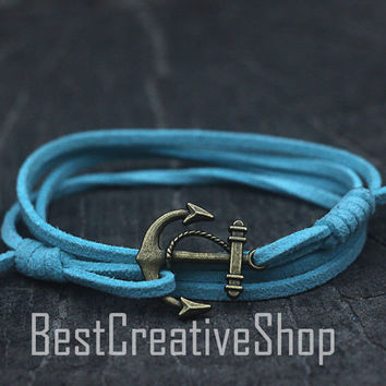 SALE! Anchor Bracelet / Light Blue Bracelet / Sea Nautical Suede Bracelet / Marine Bracelet / Mens Bracelet / Women Nautical Men Bracelet