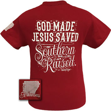 Girlie Girl Arkansas Raised, Jesus Saved Southern Raised Chevron State Girlie Bright T Shirt