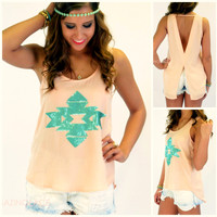 SZ LARGE Watercolor Waves Peach Sequin Aztec Tank
