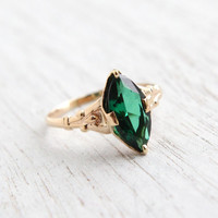 Antique 10K Yellow Gold Emerald Green Stone Ring - Vintage 1910s 1920s Size 6 1/4 Edwardian Art Deco Faceted Fine Jewelry / Marquise Stone