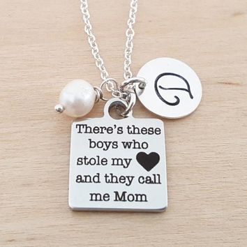 These Boys Stole My Heart Charm - Personalized Initial Sterling Silver Necklace