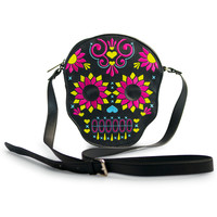 """Bright Sugar Skull"" Diecut Crossbody Bag by Loungefly (Black)"