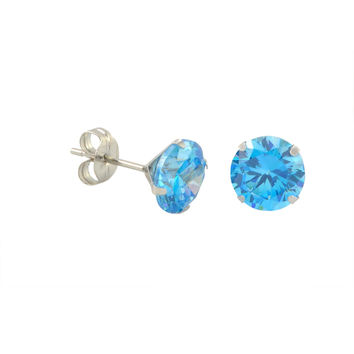 10k White Gold Blue Topaz CZ Stud Earrings Cubic Zirconia Round Prong Set