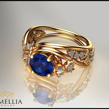 14K Yellow Gold Blue Sapphire Ring,Alternative Engagement ring,Butterfly Ring,Wedding Ring,Promise Ring,Unique Engagment Ring
