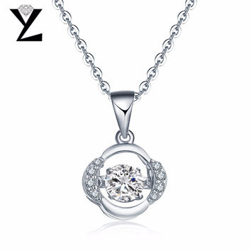 YL Topaz 925 Sterling Silver Necklaces Pendants for Women Fine Jewelry with Natural Dancing Topaz Stone for Best Friends Gift