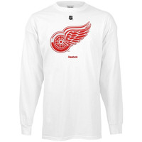 Reebok Detroit Red Wings Primary Logo Long Sleeve T-Shirt - White