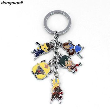 P134 Avatar: The Last Airbender Key Chains American Anime Cartoon Animation Aang Katara Trinkets Ring Round Metal Keychain