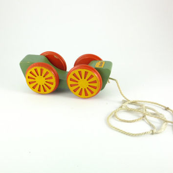 Vintage Car Pull Toy Soviet Wooden Car On Wheels, Wooden Toy, Red Green Yellow, Pull Toy, Toddler Push Toy, Made in Russia
