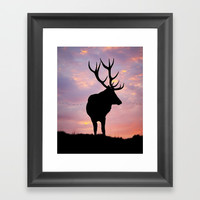 Stag And Sunset Framed Art Print by Linsey Williams Art