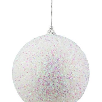 "4.5"" Decorative Iridescent White  Pink and Green Bristled Christmas Ball Ornament"