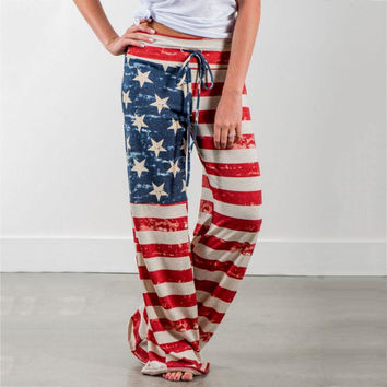 Women Fashion Loose American Flag Drawstring Vintage Striped Patchwork Printed Wide Leg Pants Long Pants Plus Size Up To XXXL
