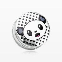 A Pair of Adorable Baby Panda Clear UV Double Flared Ear Gauge Plug