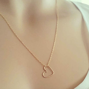 Gift for Mom, Gold Heart Necklace, Delicate 14k Gold Fill Chain, Sterling Silver, Minimal Charm Necklace Love Jewelry for Everyday just1gold