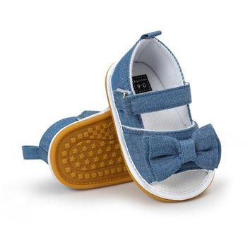 Newborn Baby Girls Bow Anti-slip Cotton Crib Shoes Summer