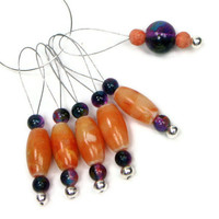 Pumpkin and Purple  Beaded Knitting Stitch Markers