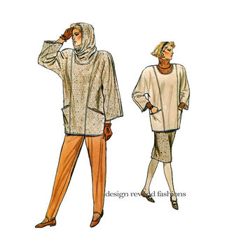 1980s STIRRUP PANTS Hooded Top Skirt Pattern Bat Wing Scoop Neck Top Hoodie Very Easy Very Vogue 9388 Size 8 10 12 Womens Sewing Patterns