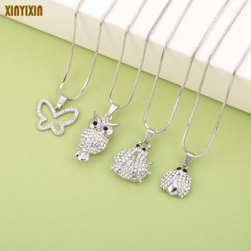 Cute Animal Charms Choker Owl Ladybug Butterfly Necklace Short Chains Small Lovely Crystal Pendant Necklace Fashion Jewelry Gift
